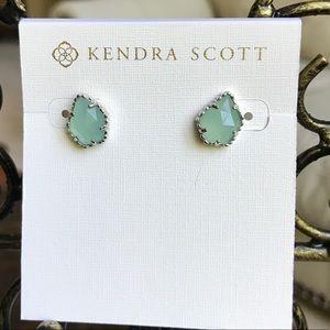 Kendra Scott Tessa Studs, Silver and Chalcedony